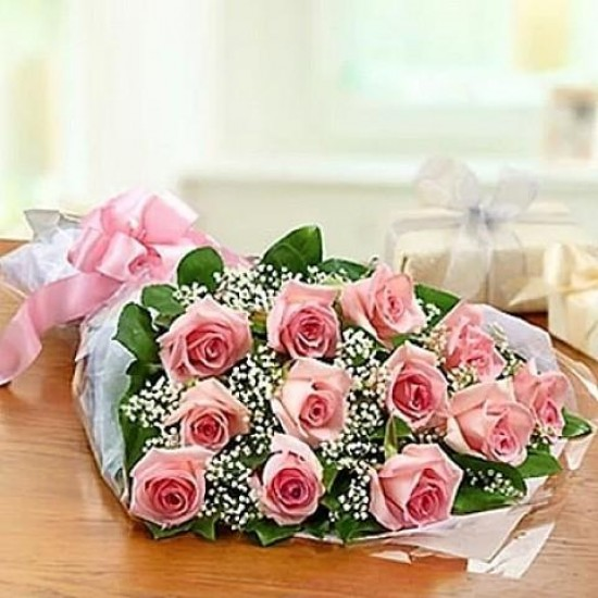 Bouquet 12 pink Roses M 44