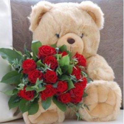 Roses with Teacy Bear Love 6