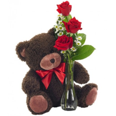 3 Roses with Bear Love 8