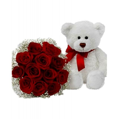 Red roses with medium Bear Love 7